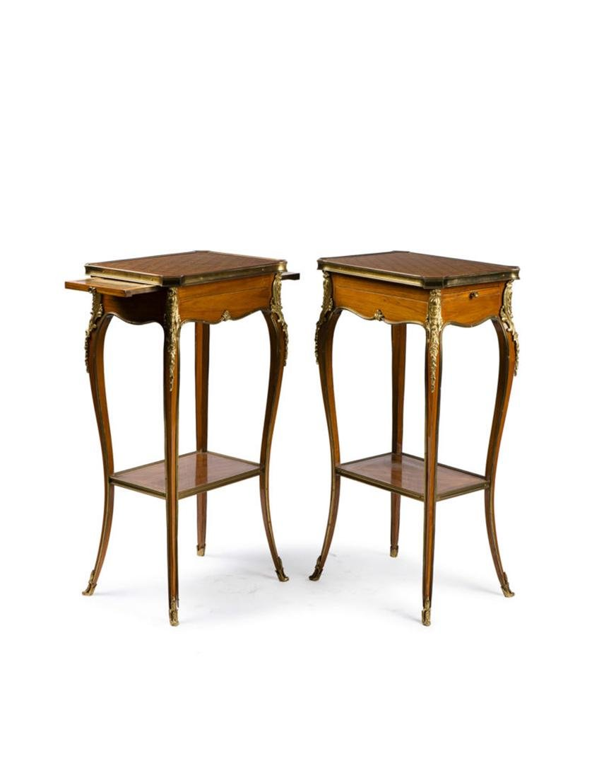 """Pair of side table """"Marquetry a la reine"""" style"""