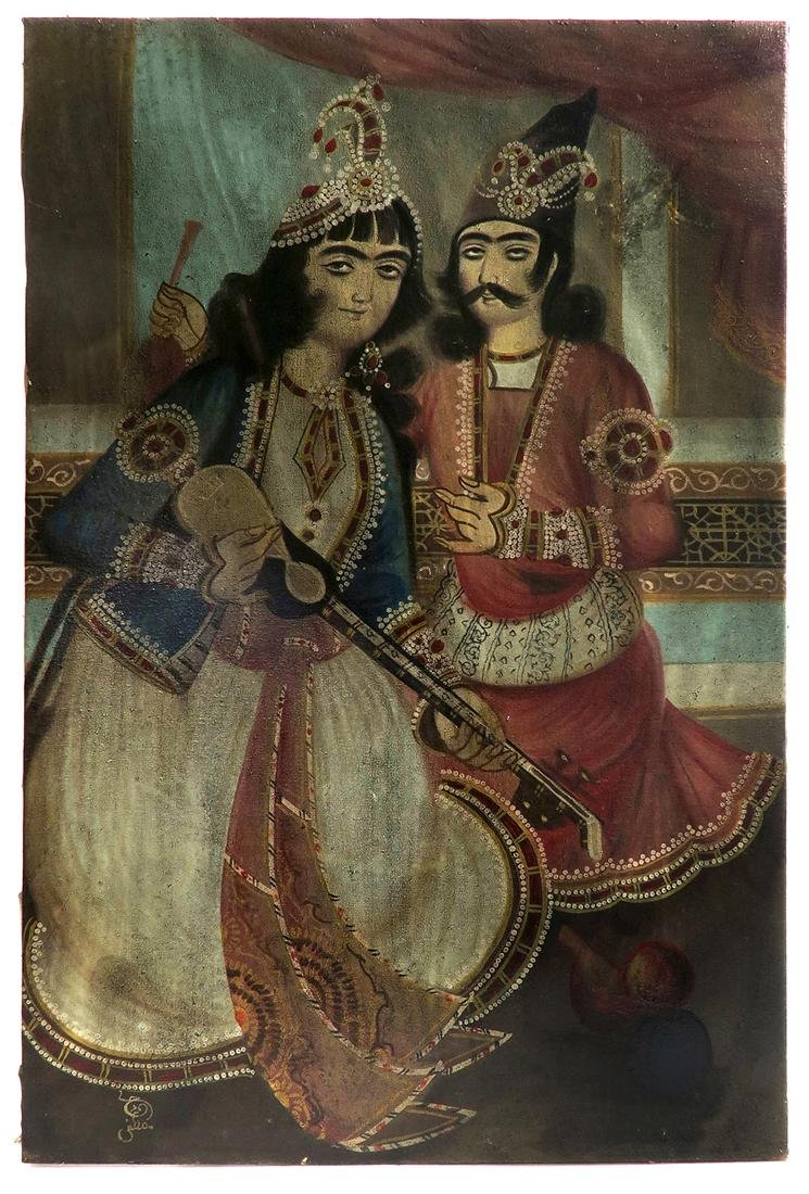 A Persian Qajar Oil On Canvas By Mostafa Hamidi, Signed