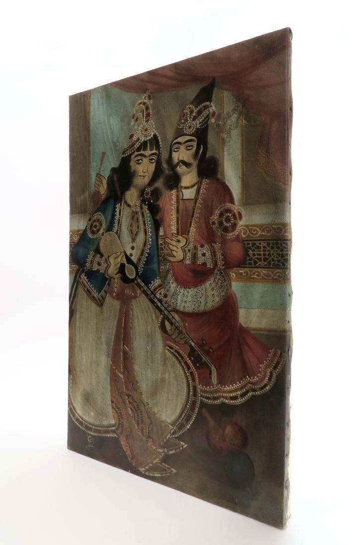 A Persian Qajar Oil On Canvas By Mostafa Hamidi, Signed - 2