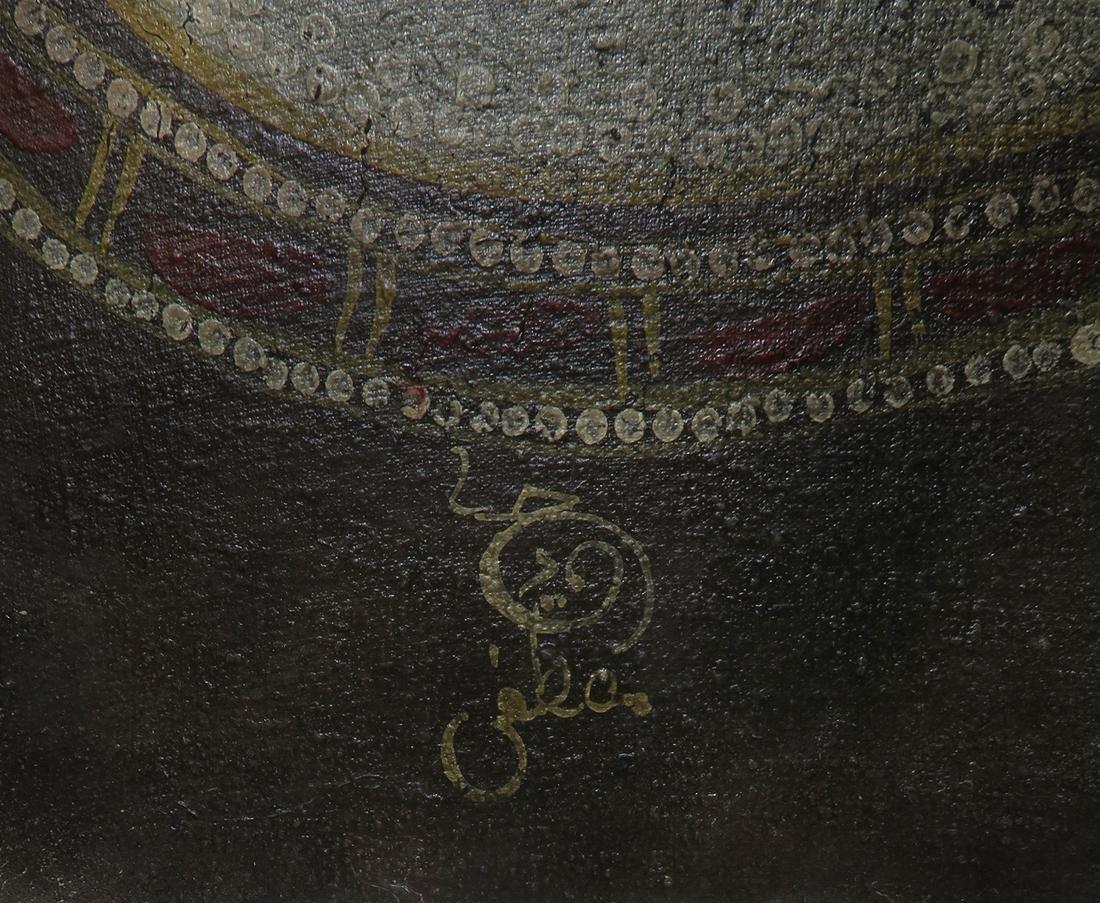 A Persian Qajar Oil On Canvas By Mostafa Hamidi, Signed - 5