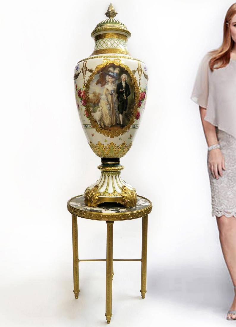 A Monumental French Sevres Hand Painted Vase