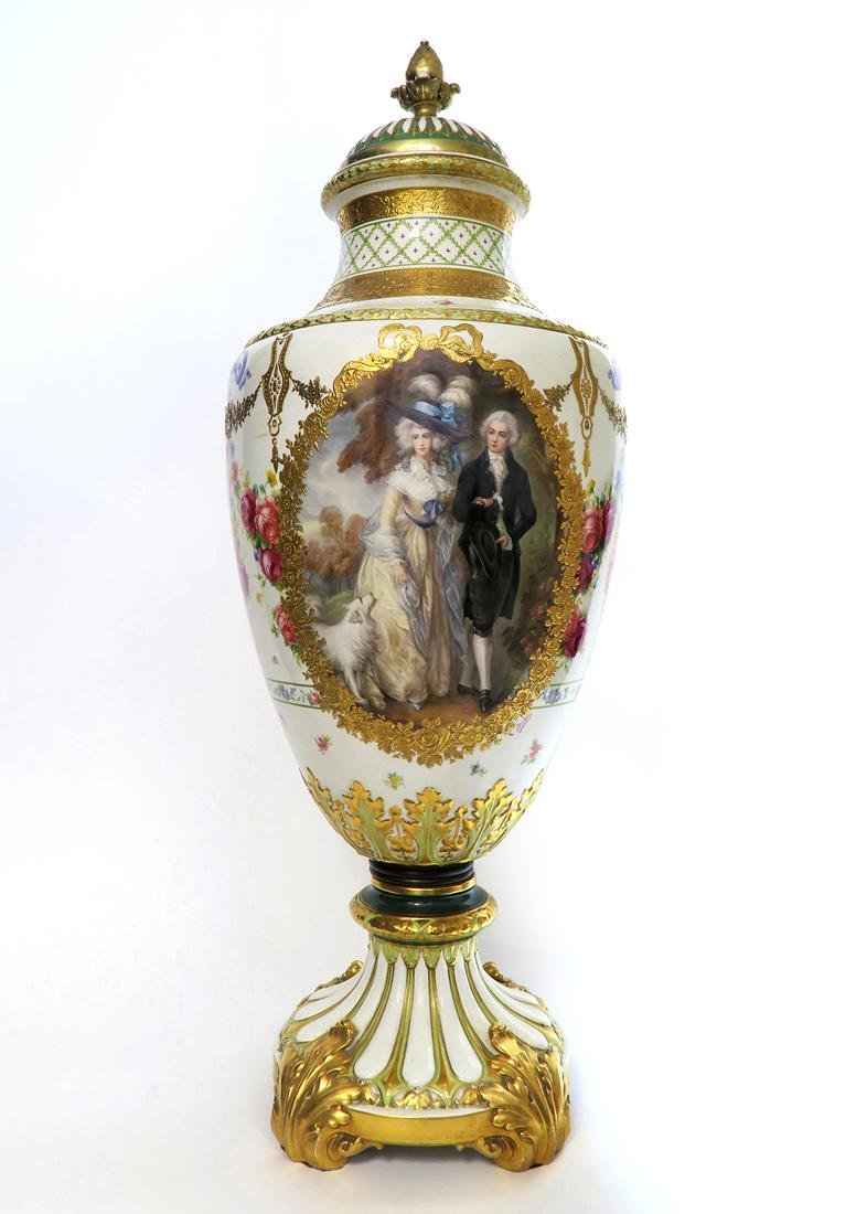 A Monumental French Sevres Hand Painted Vase - 2