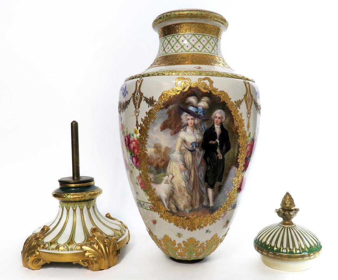 A Monumental French Sevres Hand Painted Vase - 6