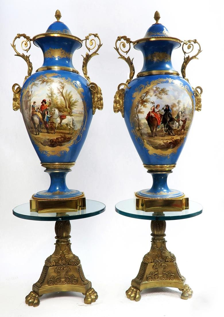 A Pair of Monumental Bronze Mounted Sevres Vases - 2