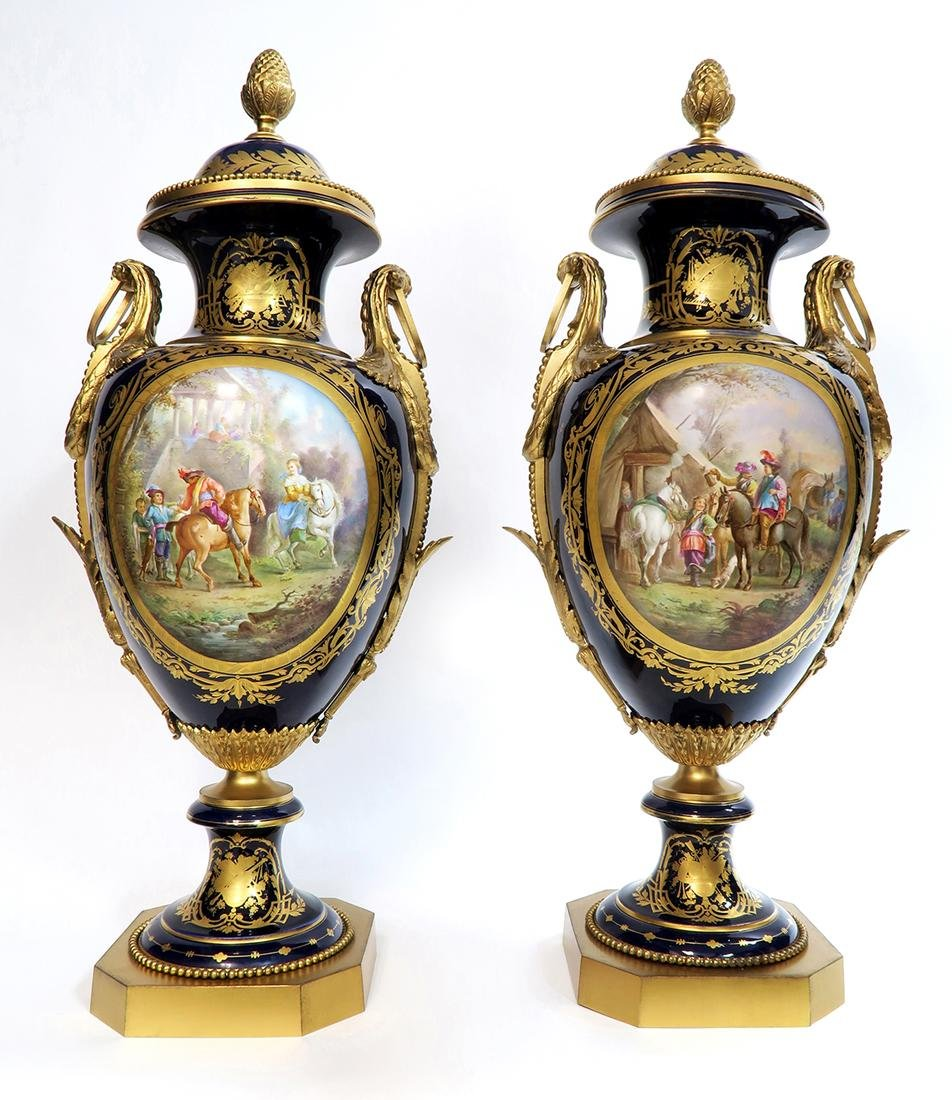 Monumental Pair of Bronze Mounted Sevres Vases, 19th C. - 2