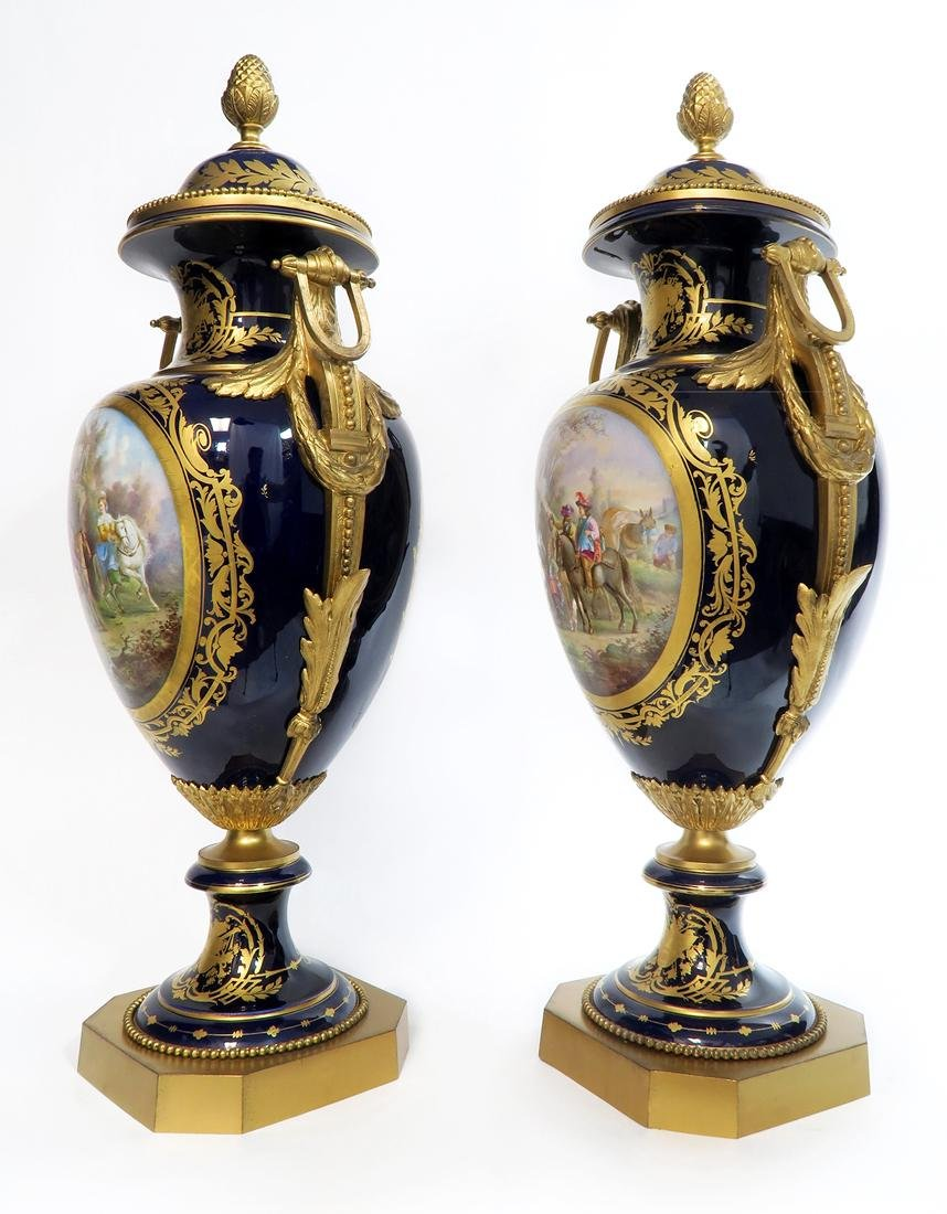 Monumental Pair of Bronze Mounted Sevres Vases, 19th C. - 5