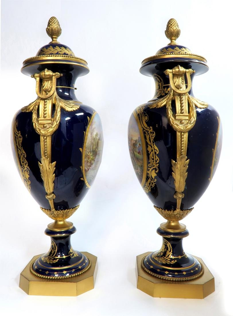 Monumental Pair of Bronze Mounted Sevres Vases, 19th C. - 6