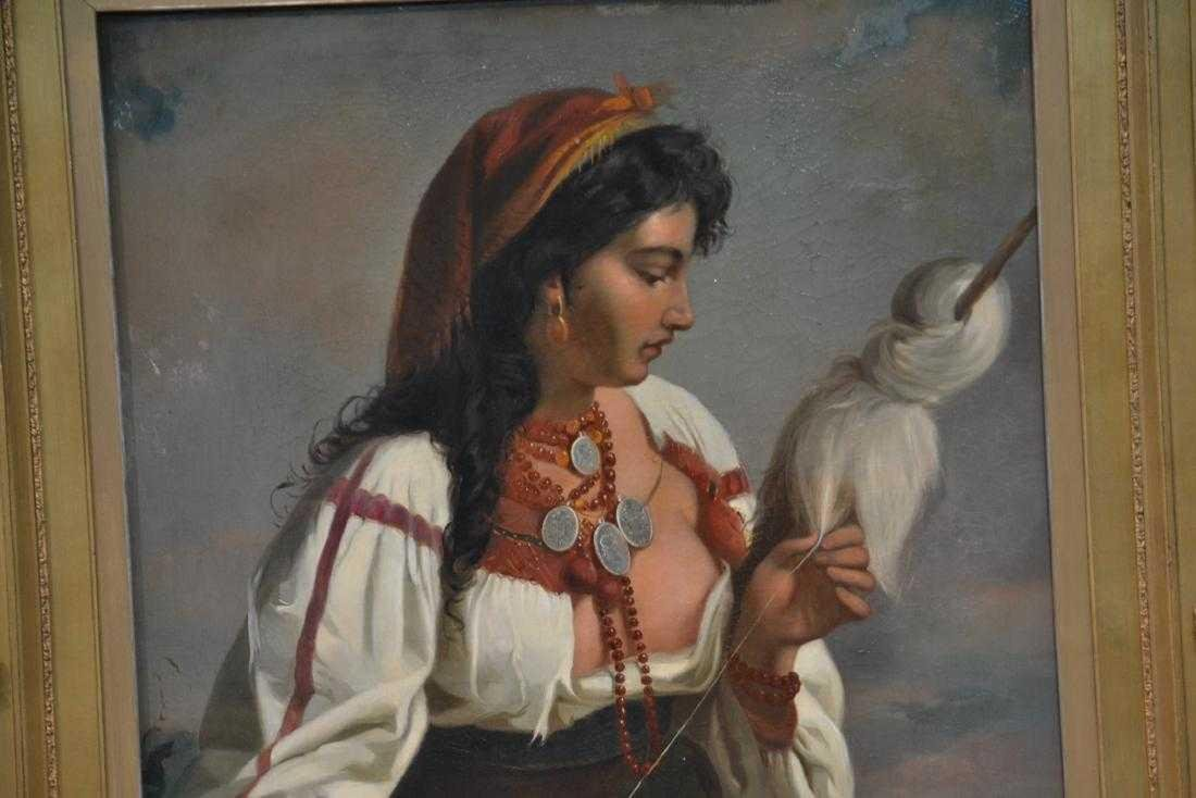 A LARGE OIL ON CANVAS OF ORIENTALIST GIRL 19th C. - 2
