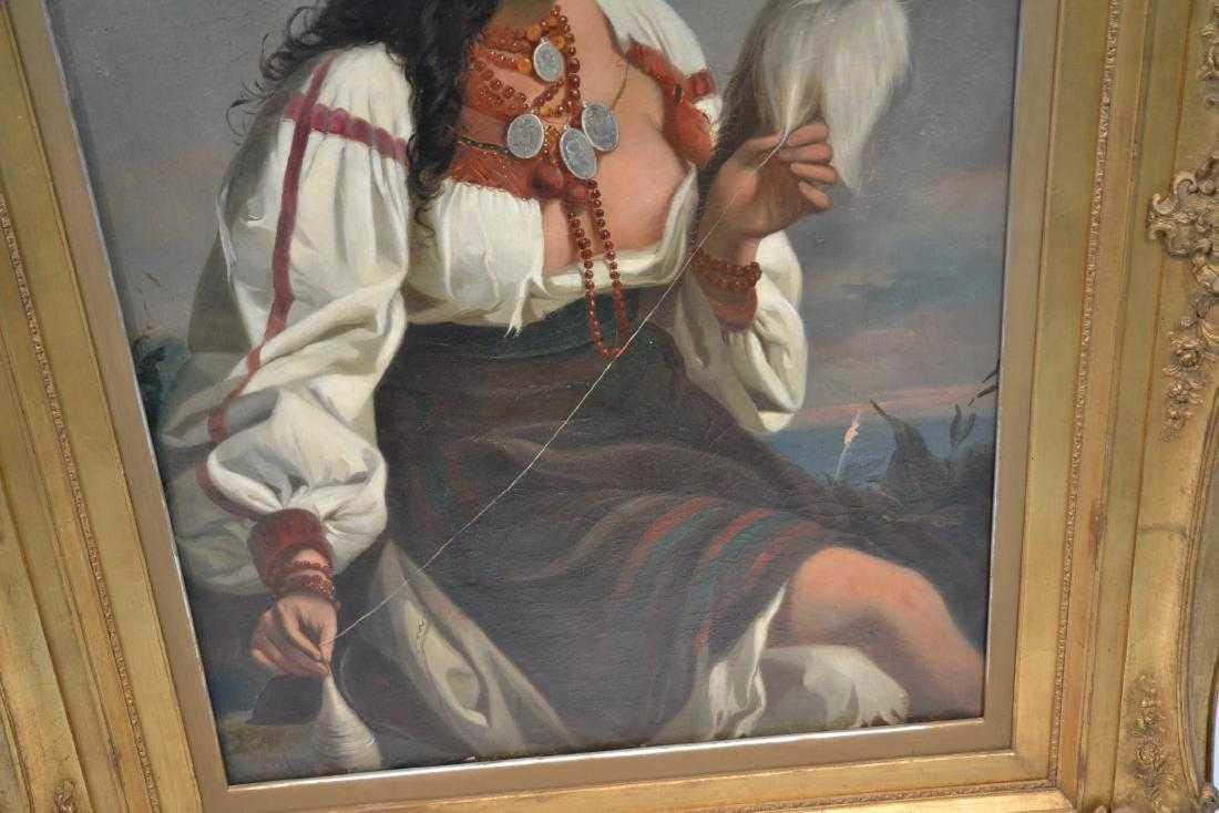 A LARGE OIL ON CANVAS OF ORIENTALIST GIRL 19th C. - 4