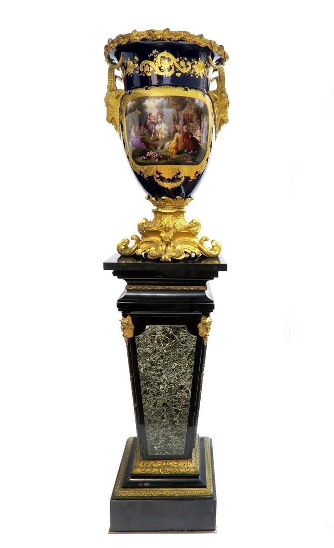 Very Fine Monumental Sevres Vase on Pedestal - 2