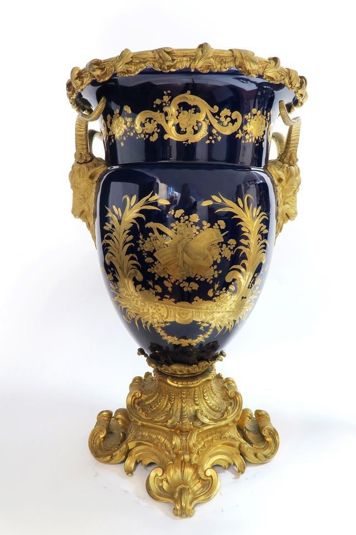 Very Fine Monumental Sevres Vase on Pedestal - 8
