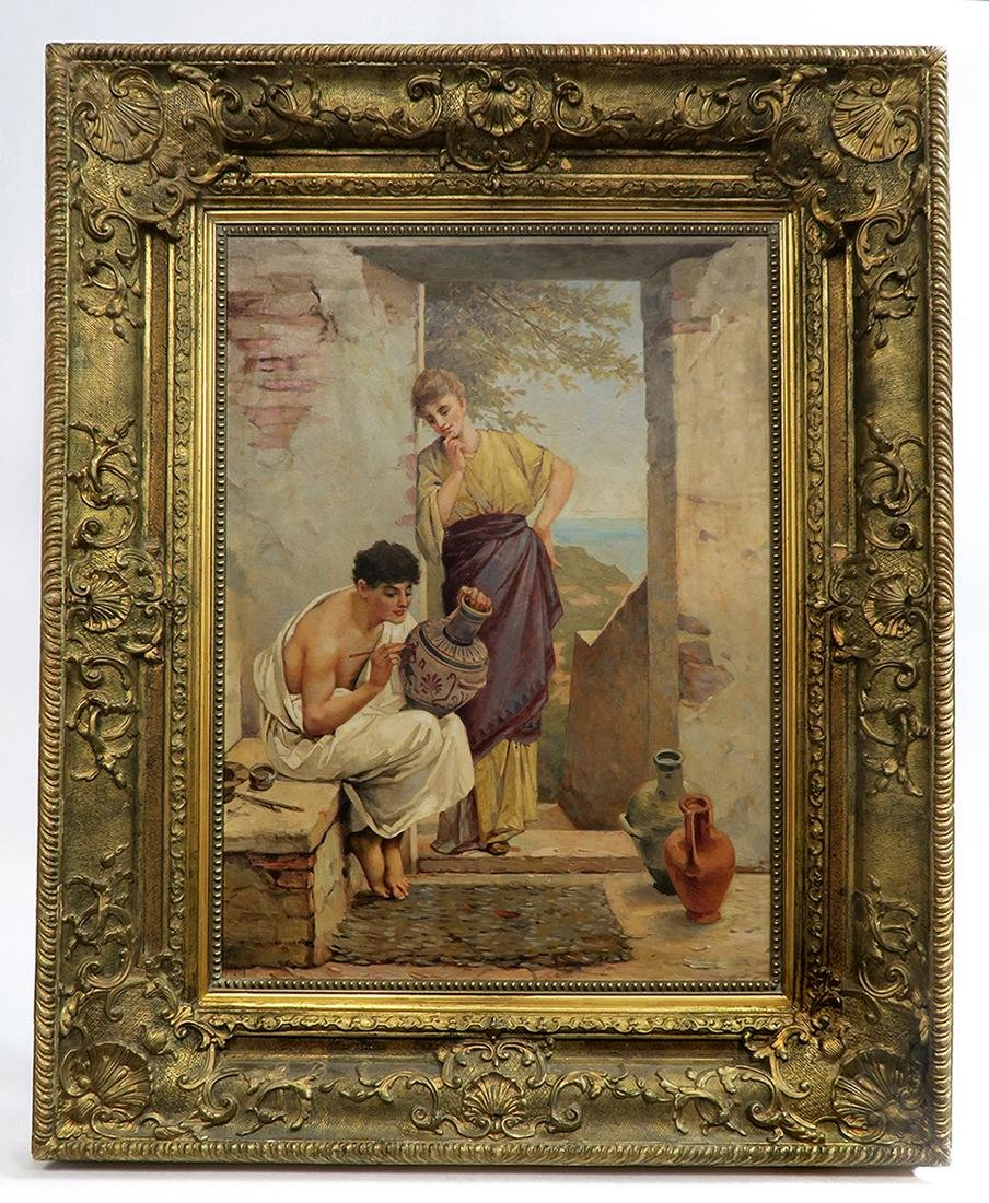 A Large 19th C. Continental Framed Oil on Canvas - 2
