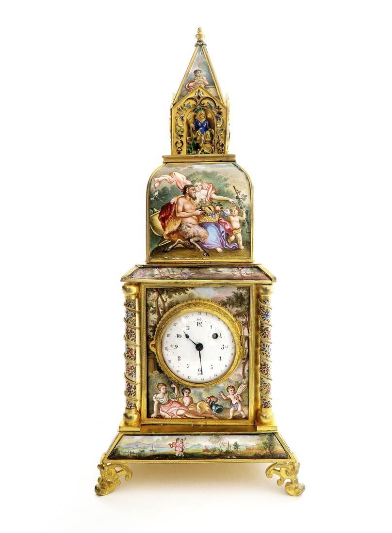 A Large Viennese Enamel Clock - 2