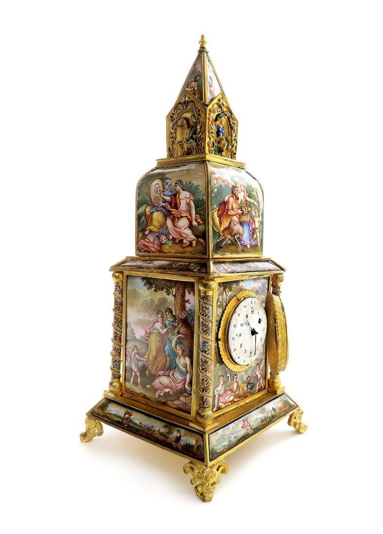 A Large Viennese Enamel Clock - 3