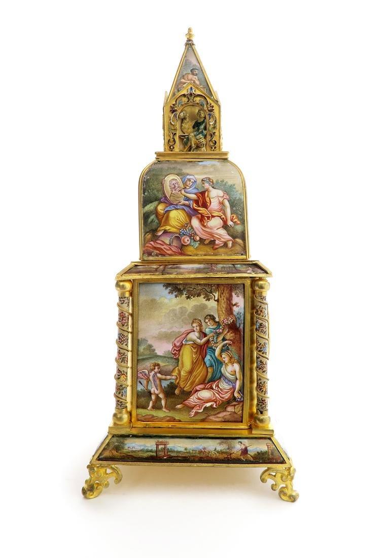 A Large Viennese Enamel Clock - 4