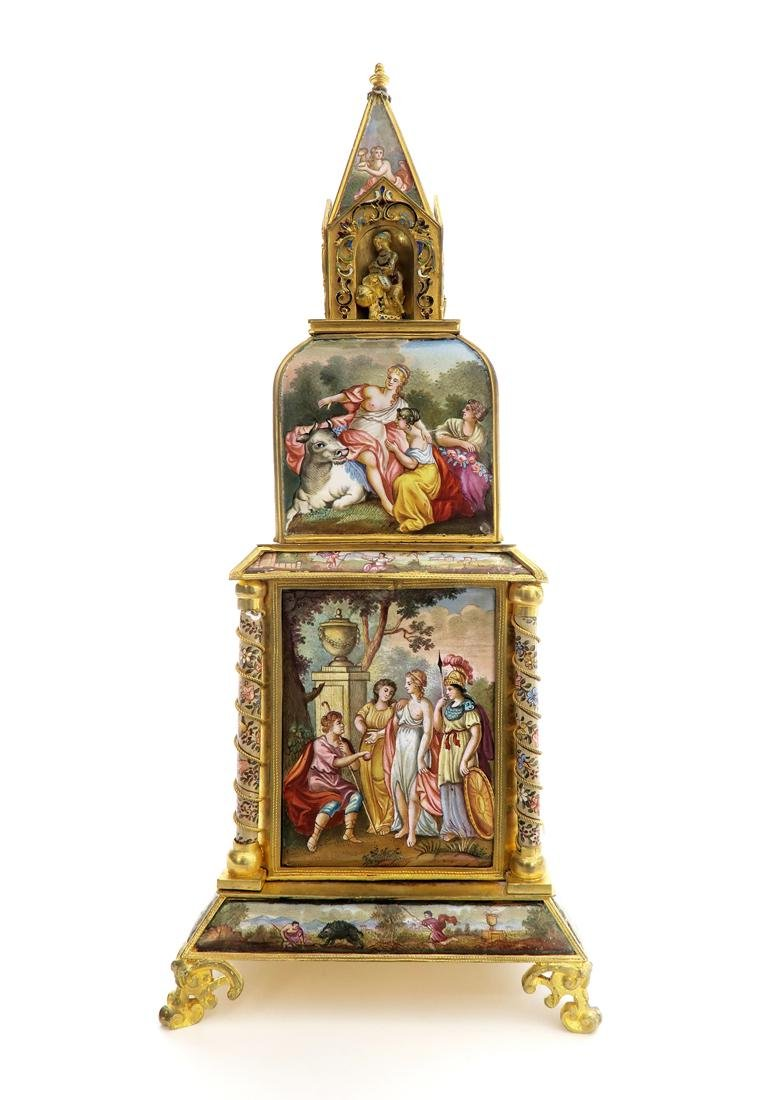 A Large Viennese Enamel Clock - 5