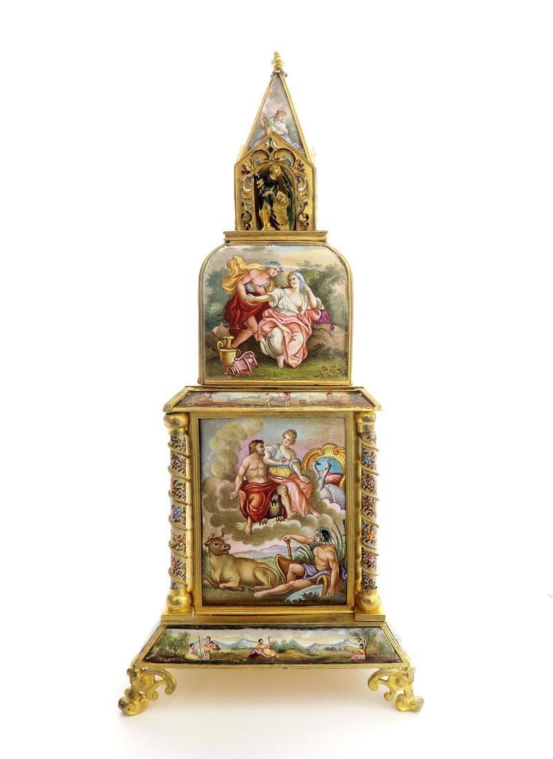 A Large Viennese Enamel Clock - 6
