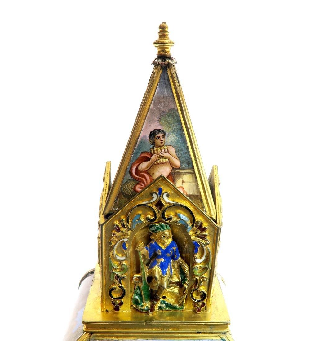 A Large Viennese Enamel Clock - 7