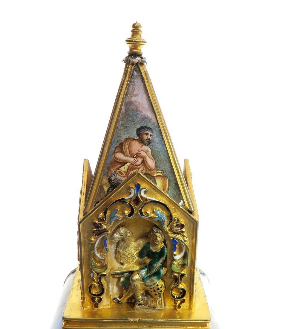 A Large Viennese Enamel Clock - 8