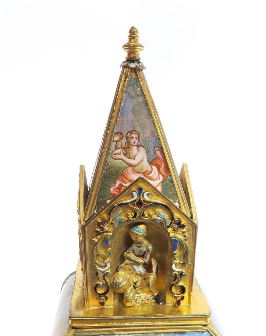 A Large Viennese Enamel Clock - 9