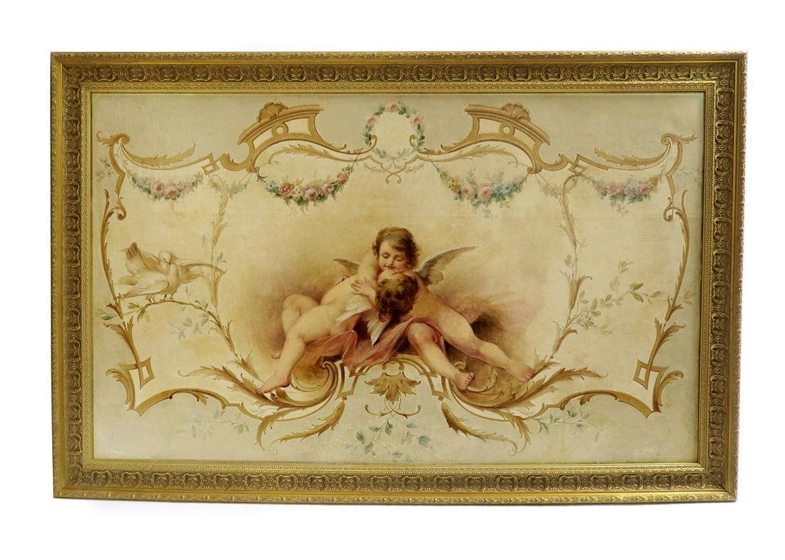 19th C. Large Oil on Board Painting of Cupids