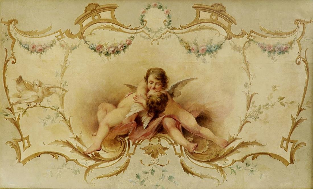19th C. Large Oil on Board Painting of Cupids - 2