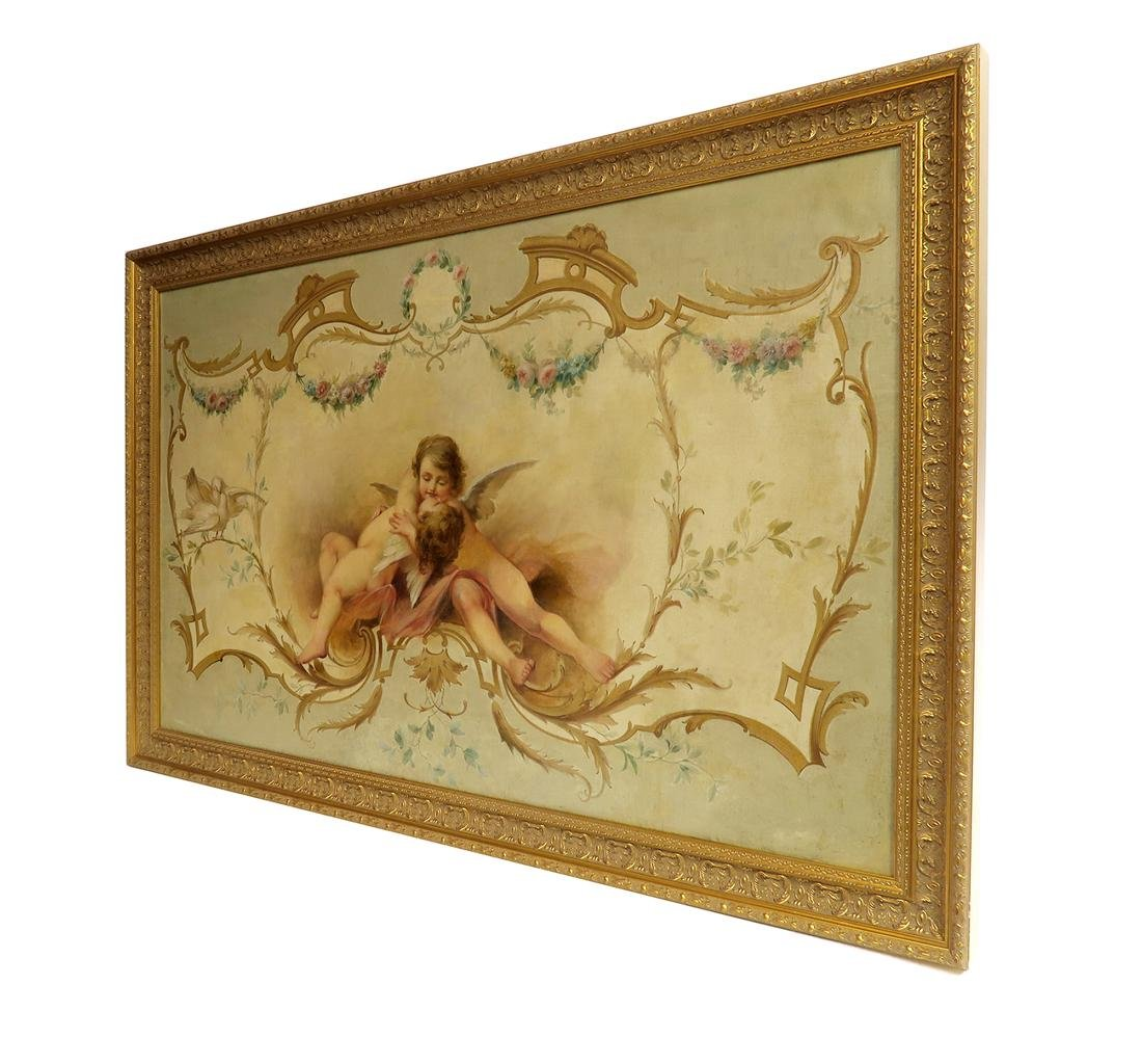 19th C. Large Oil on Board Painting of Cupids - 5
