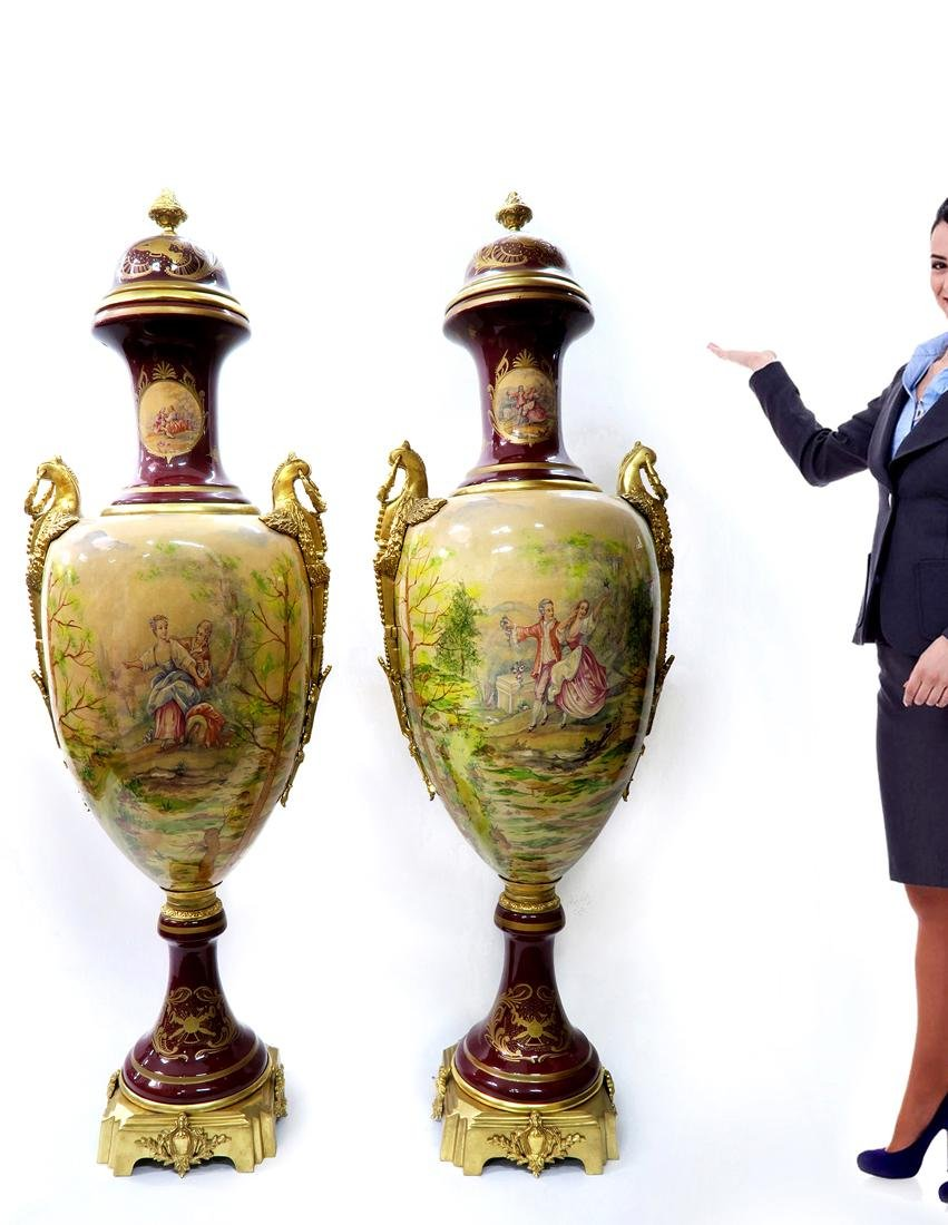 Monumental Pair of Bronze Mounted Sevres Vases