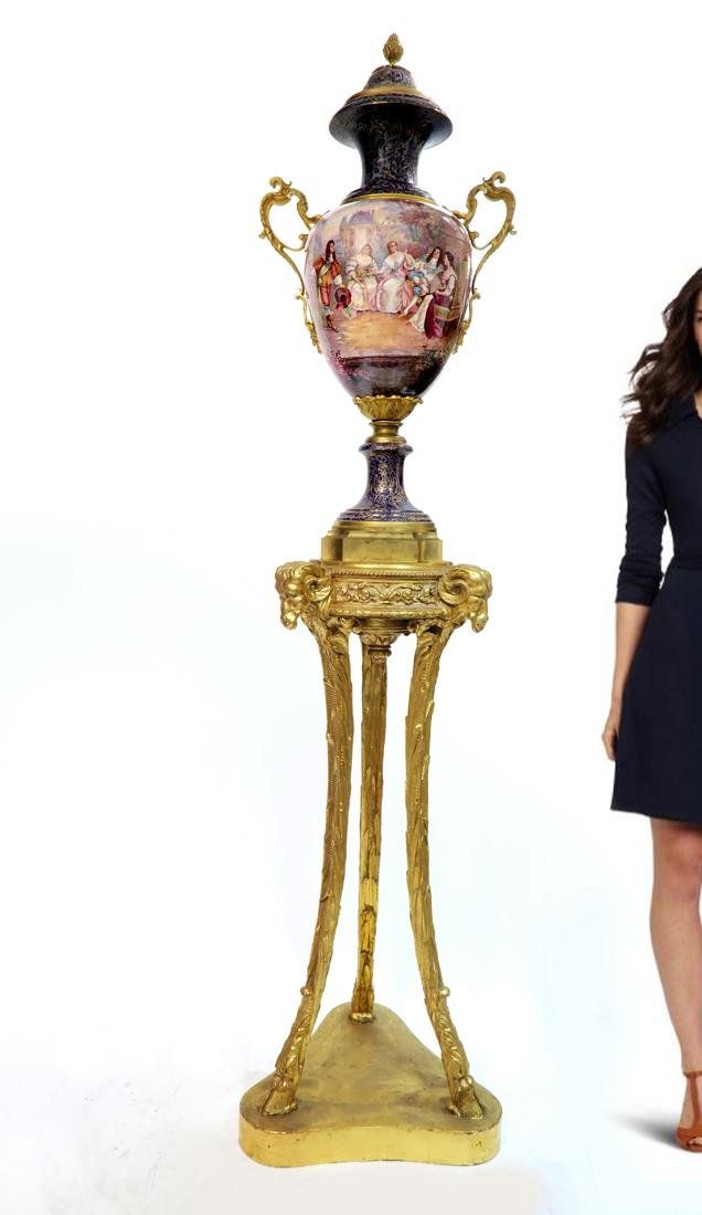 A Monumental Bronze Mounted Sevres Lidded Vase