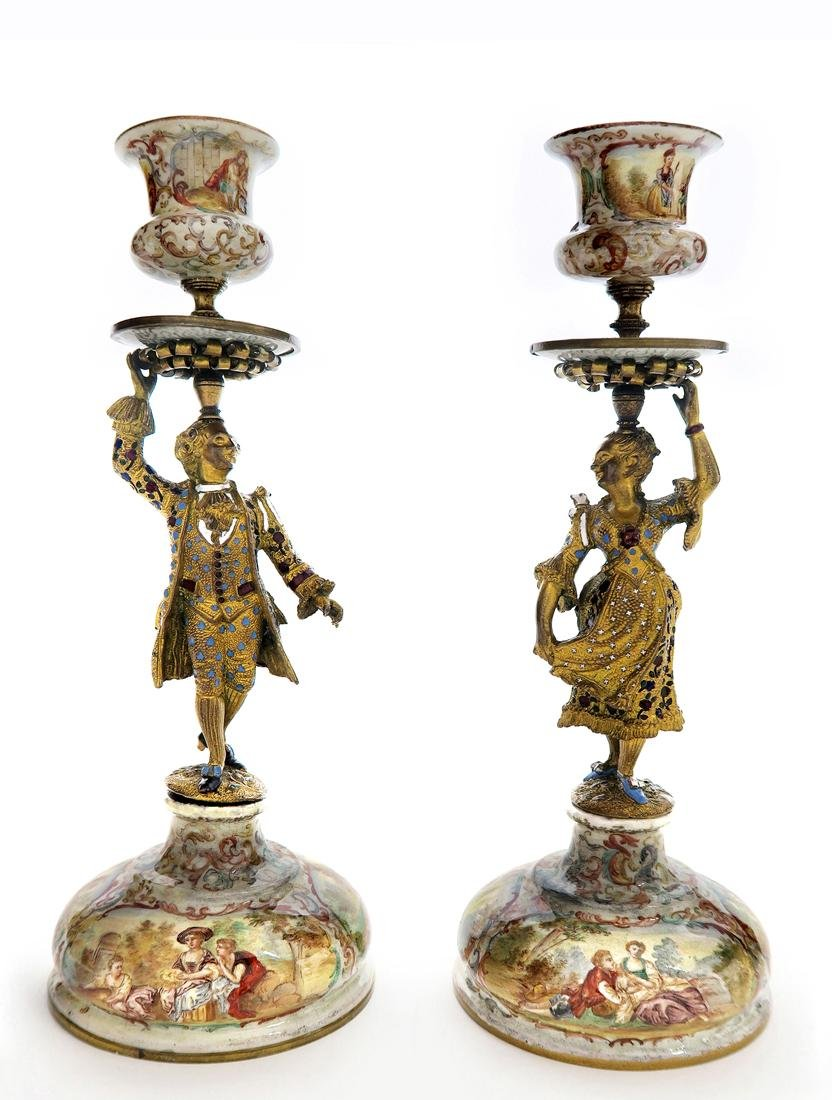 A Pair of Silver Viennese Enamel Figural Candlesticks