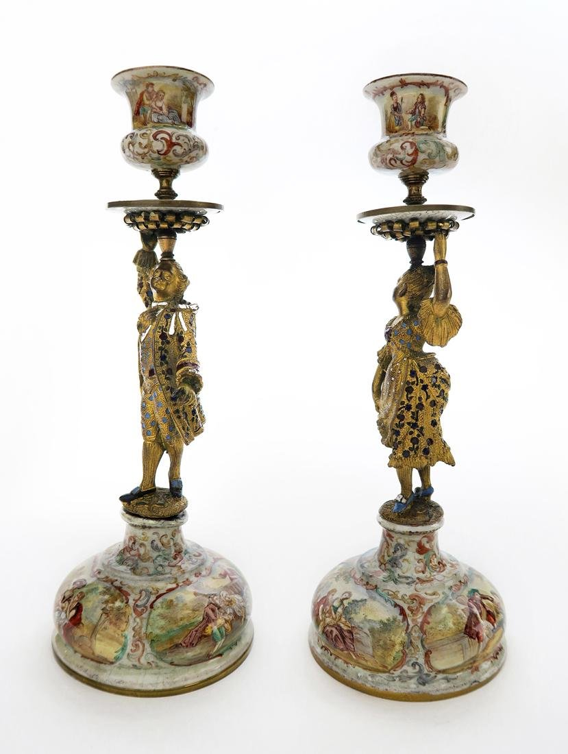 A Pair of Silver Viennese Enamel Figural Candlesticks - 2