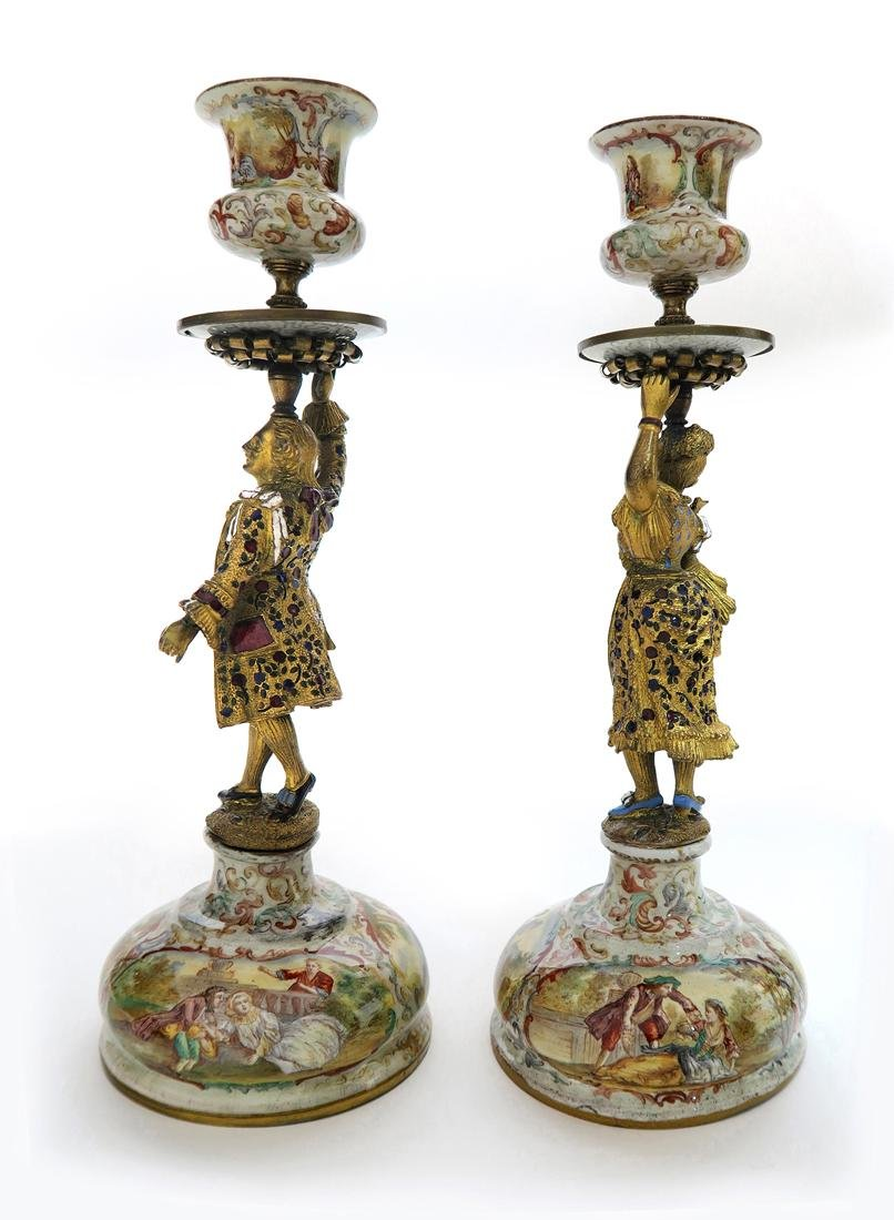 A Pair of Silver Viennese Enamel Figural Candlesticks - 3