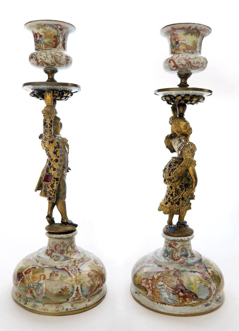 A Pair of Silver Viennese Enamel Figural Candlesticks - 5
