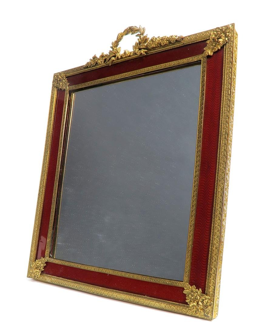 A Large 19th C. French Bronze & Enamel Frame/Mirror