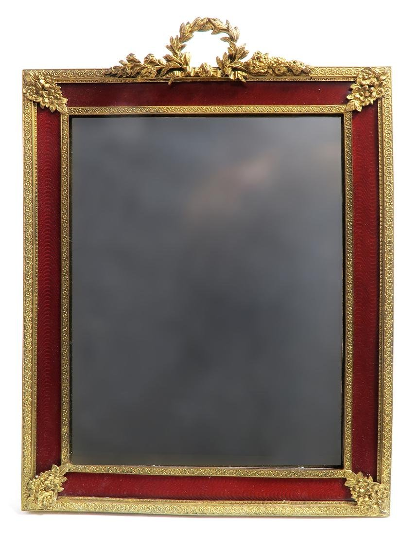 A Large 19th C. French Bronze & Enamel Frame/Mirror - 2