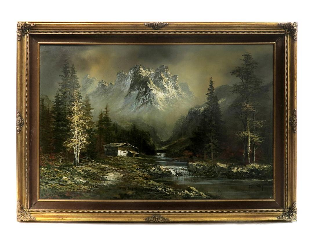 Alps Mountain Landscape, Oil on Canvas By M. Rumny