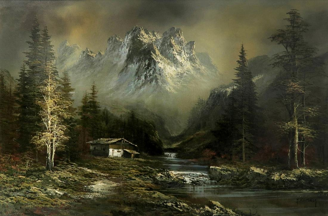 Alps Mountain Landscape, Oil on Canvas By M. Rumny - 2