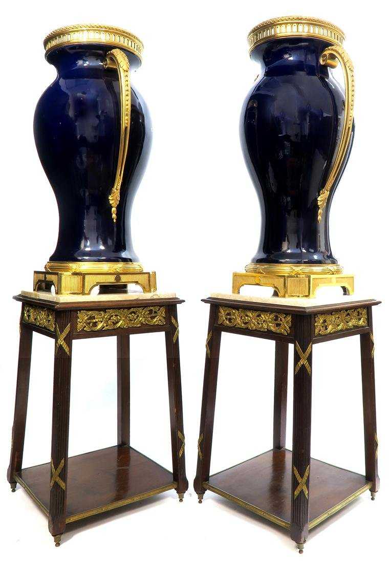 Monumental Pair of French Bronze Mounted Sevres Vases - 4