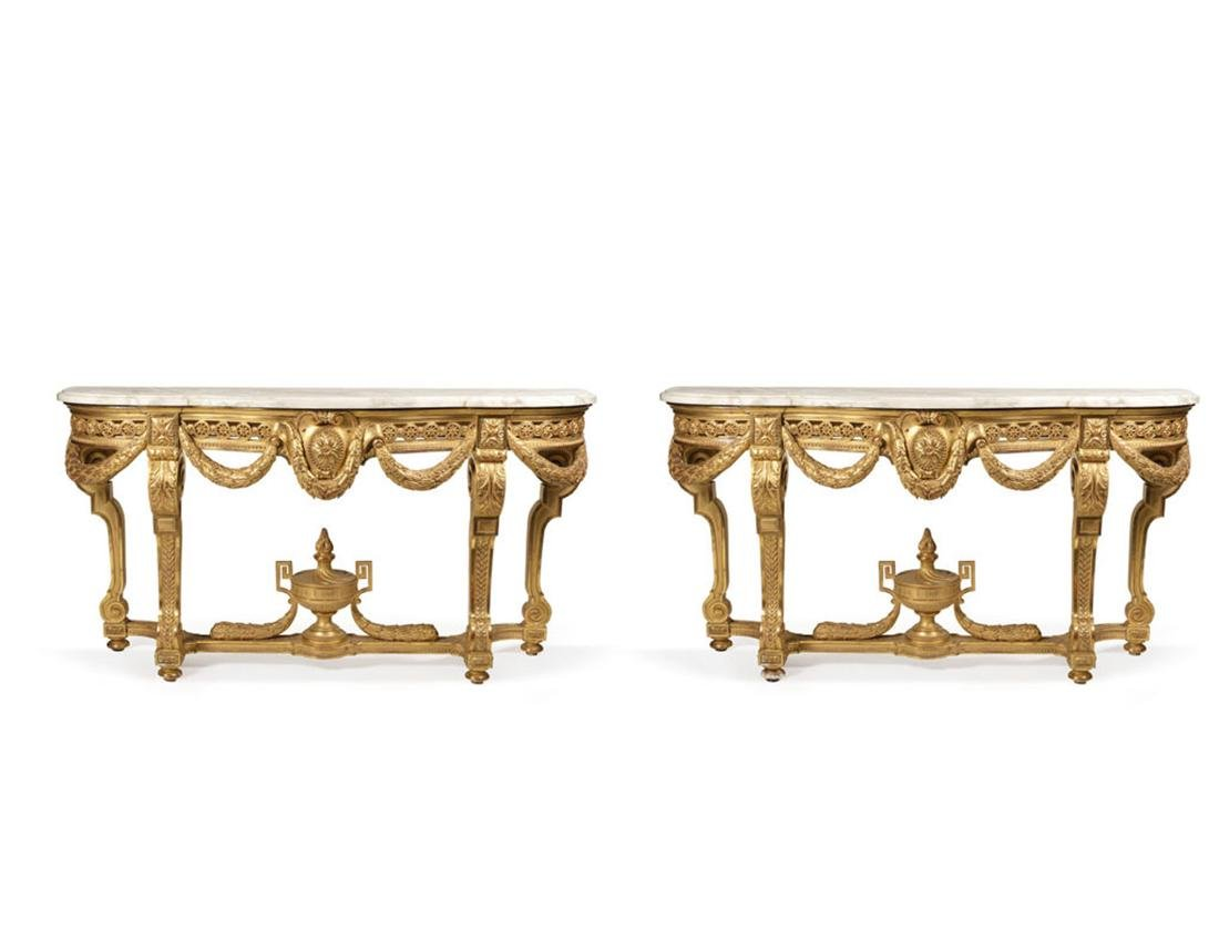 A Pair of Guilt Wood & Marble Console, Louis XVI style