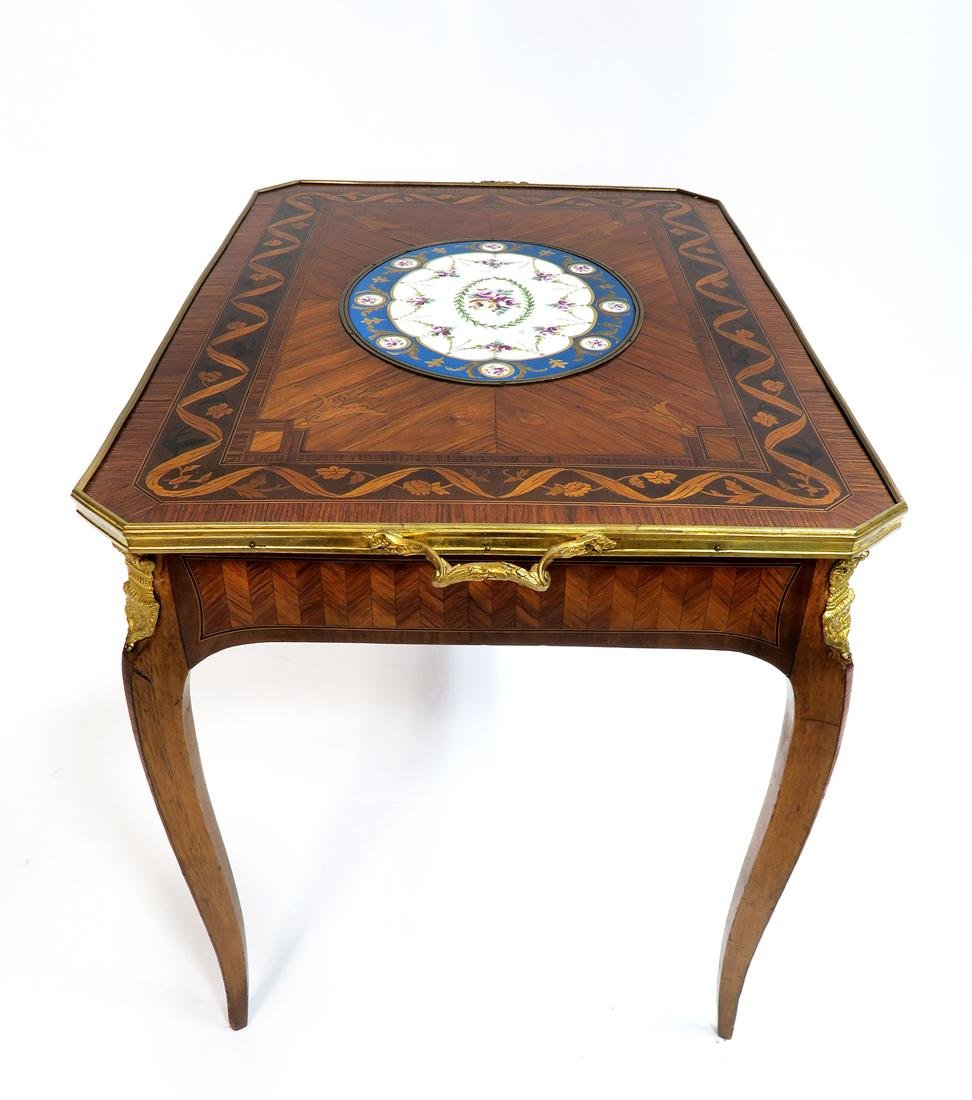 19th C. French Bronze Mounted Marquetry & Sevres Table - 3