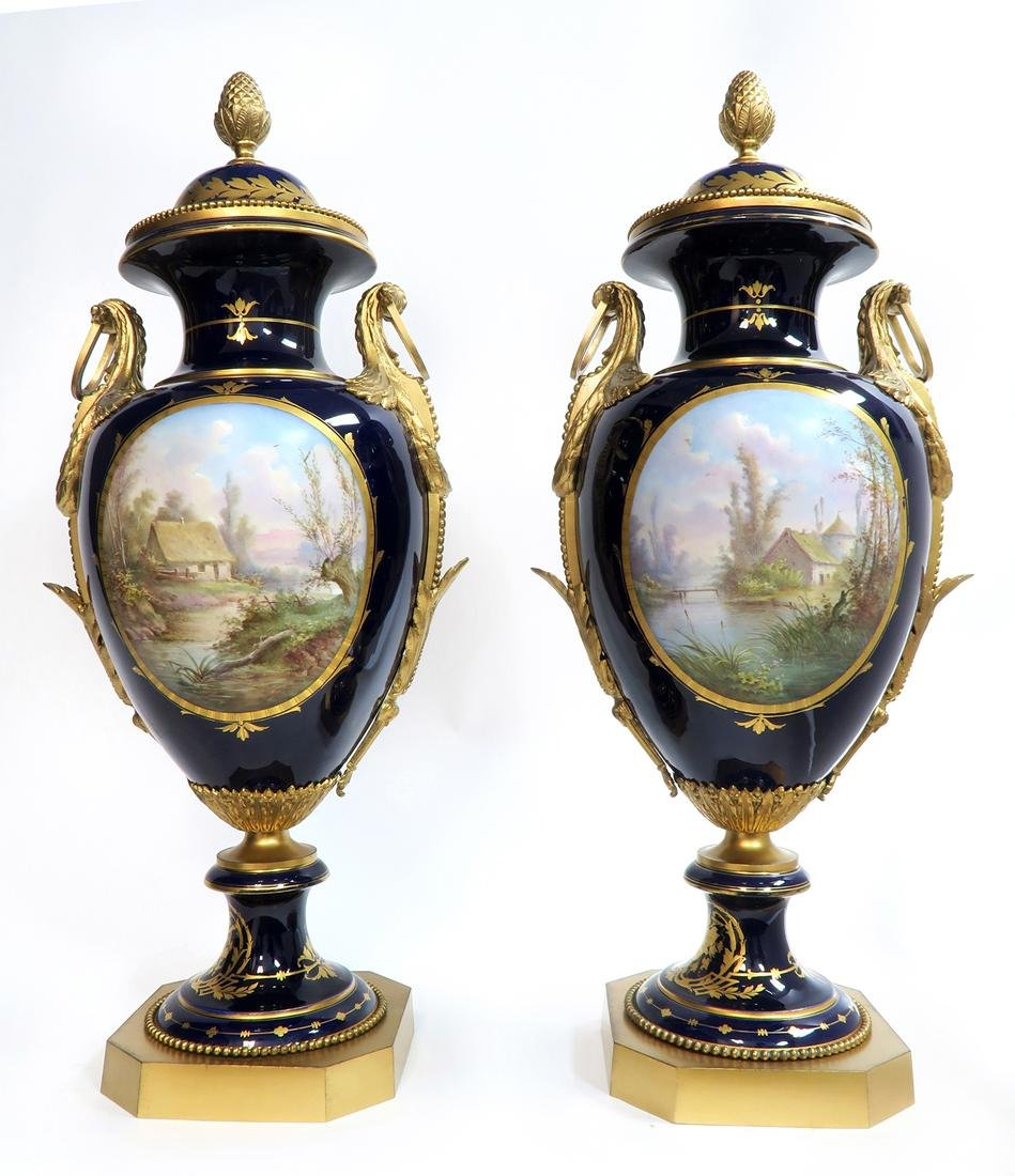 Monumental Pair of Bronze Mounted Sevres Vases, 19th C. - 7