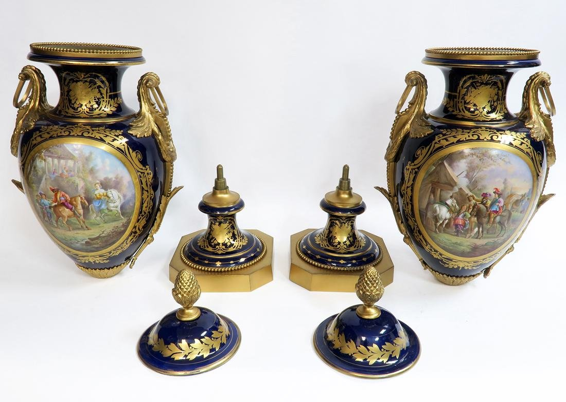 Monumental Pair of Bronze Mounted Sevres Vases, 19th C. - 8