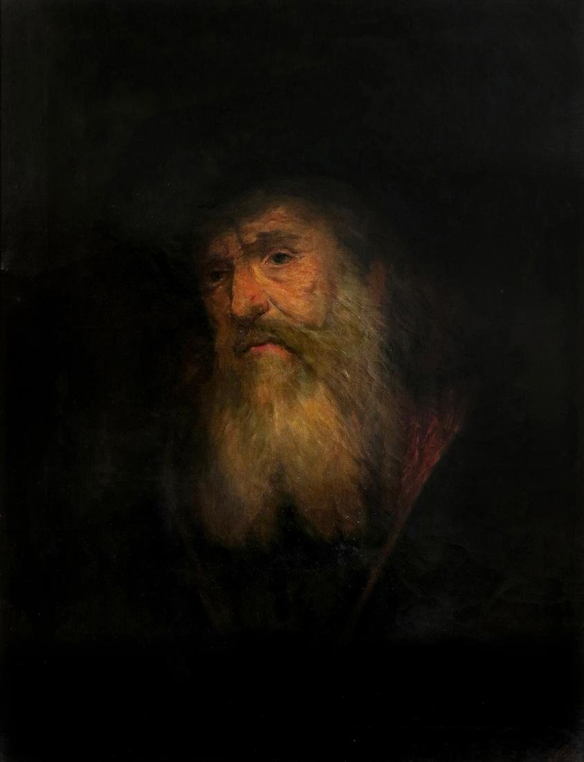 Large Judaica Oil on Canvas Painting of a Rabbi Signed - 2