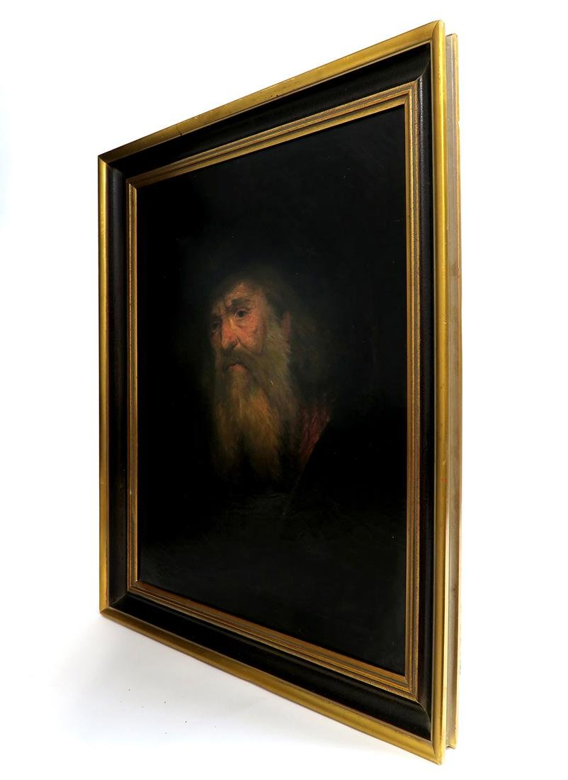 Large Judaica Oil on Canvas Painting of a Rabbi Signed - 3