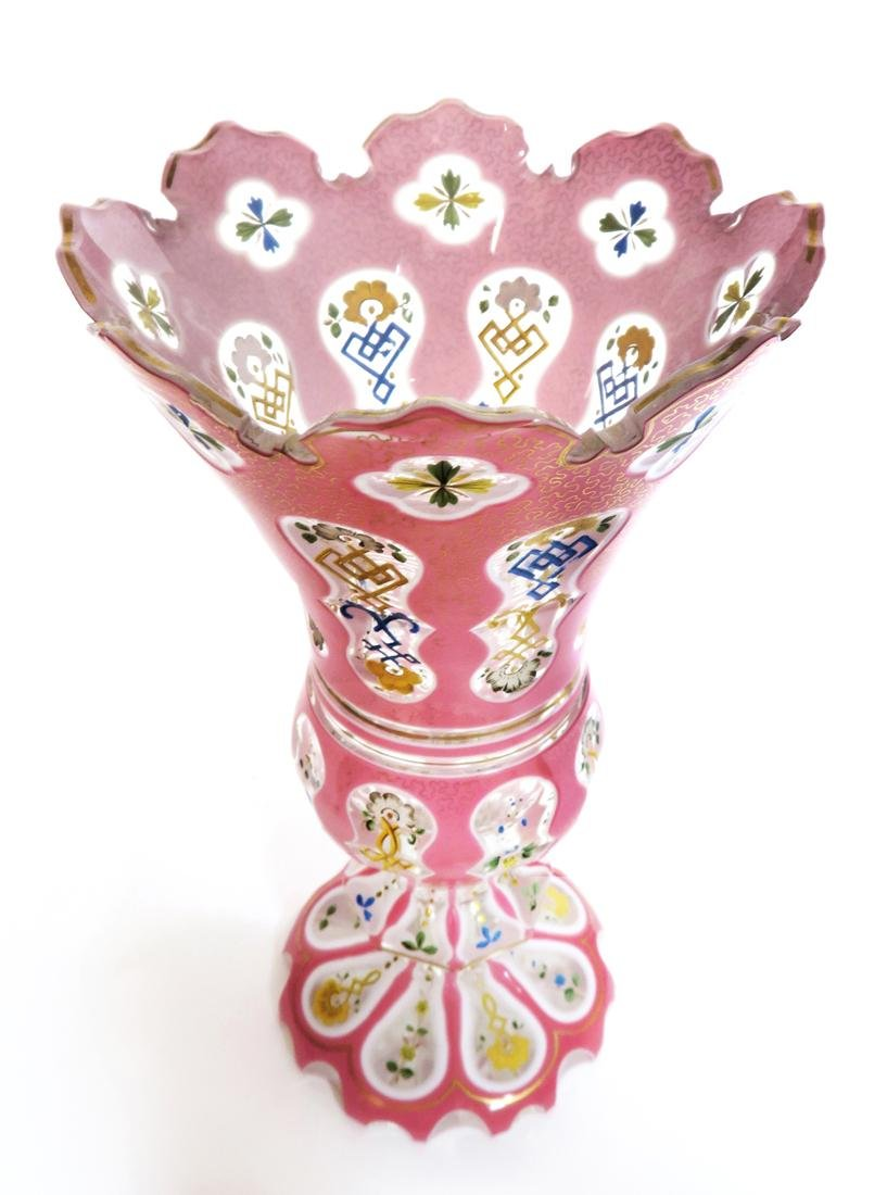 19th C. Large Bohemian Cut Crystal Vase - 2