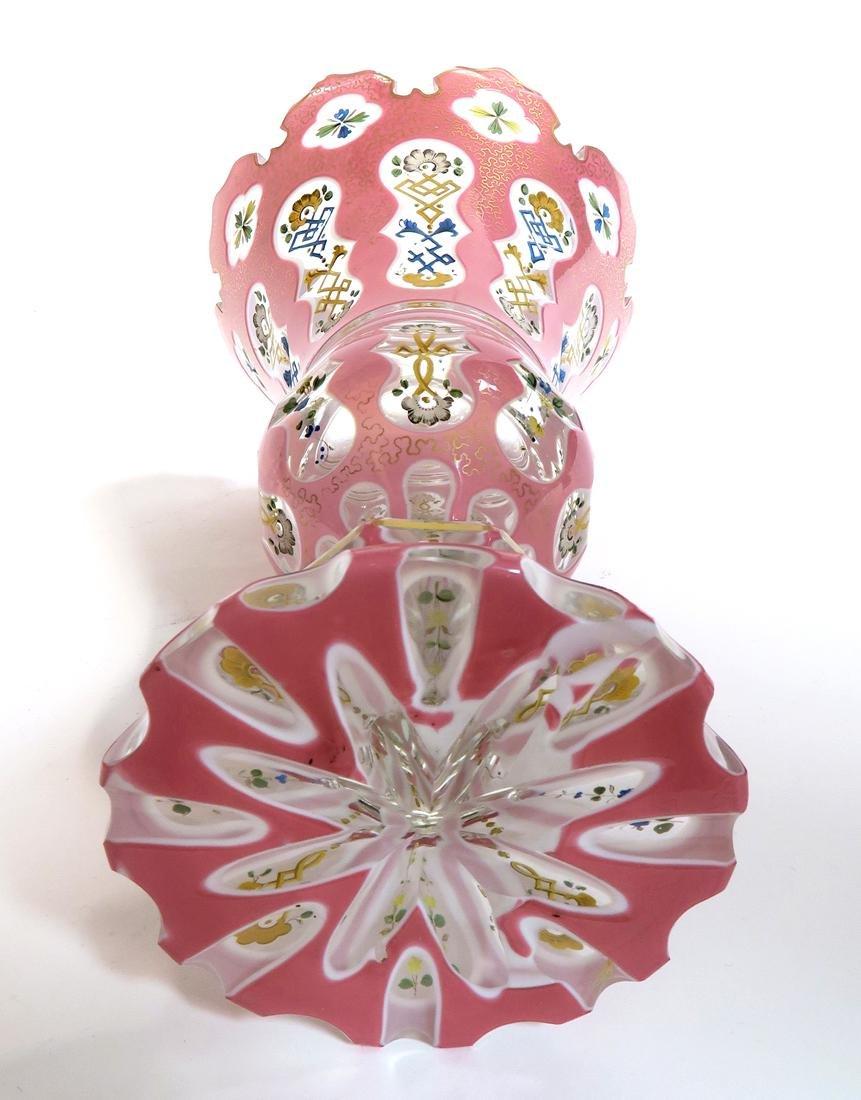 19th C. Large Bohemian Cut Crystal Vase - 3