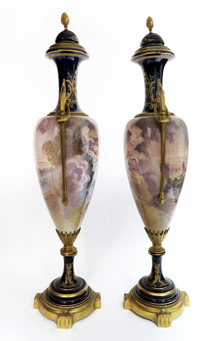 A Pair of Large 19th C. Sevres Vases Signed Maxant - 2