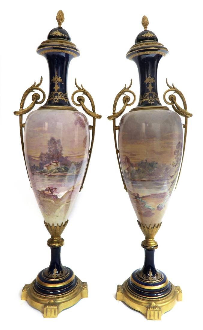 A Pair of Large 19th C. Sevres Vases Signed Maxant - 3