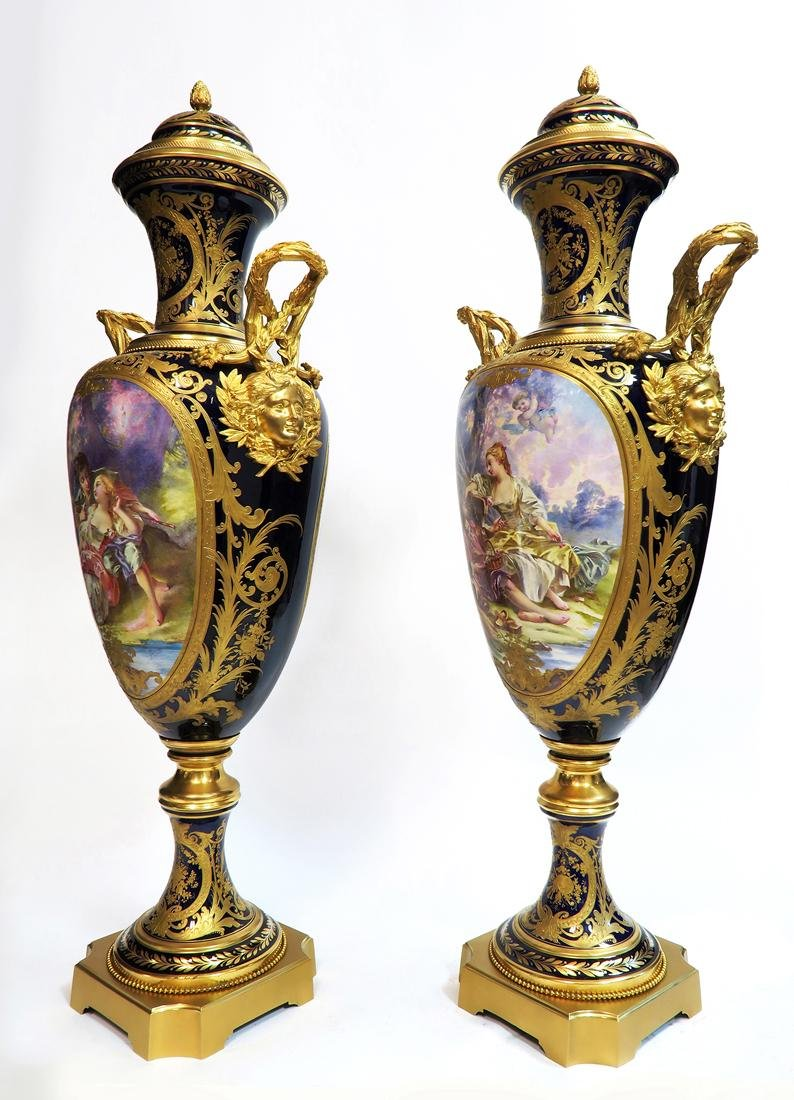 Pair of 19th C. Monumental Sevres Vases. Museum Quality - 5