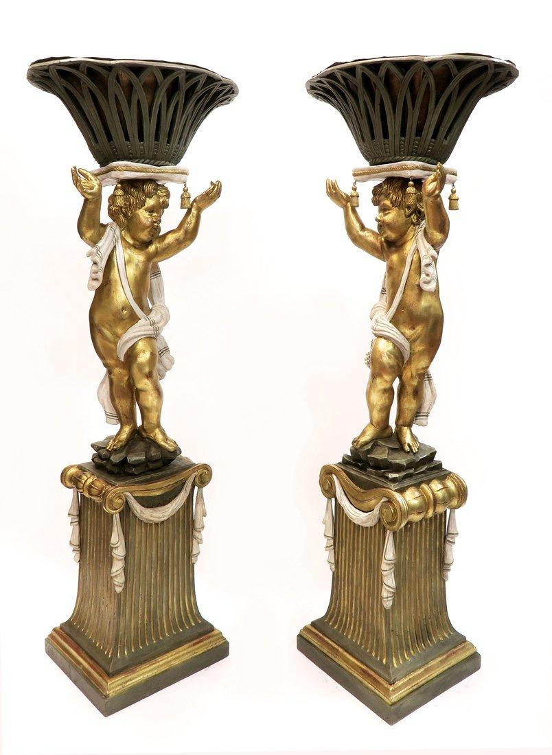 A Pair of Monumental Carved Wood Figural Jardinieres - 4